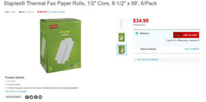 """Staples Thermal Fax Paper Rolls (7+ rolls), 1/2"""" Core"""