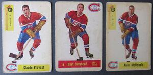 3 Cartes de hockey Parkhurst Canadiens de Montréal 1957 à 1959