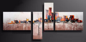 4020-Hand made Abstract Art Cityscape oil painting,