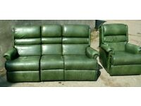 Retro style green Sherbourne 3 seater Recliner sofa and Armchair.