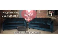 NEW 2 xTeal Velvet 3 Seater Sofas, Can Deliver