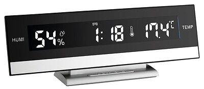 LUXUS-DIGITALWECKER BLACK LCD TFA 60.2011 CRESCENDO RAUMKLIMAKONTROLLE WECKER