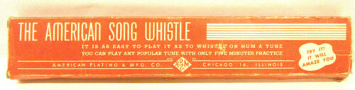 Vintage American Plating Song Whistle Chicago IL Adam & Co. Rare Boxed 1950