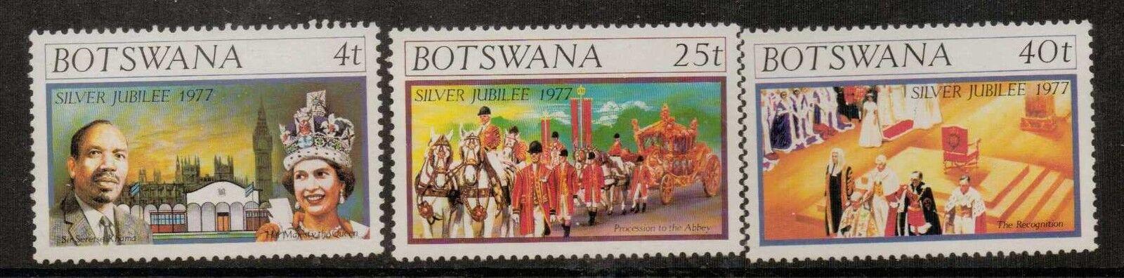 BOTSWANA SG391/3 1977 SILVER JUBILEE MNH