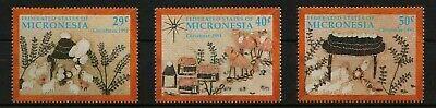 MICRONESIA, SCOTT # 146-148, SET OF 3 CHRISTMAS HANDICRAFT SCENES: NATIVITY, MNH