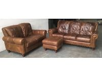 £2000 aniline distressed leather 3pc sofa set WE DELIVER UK WIDE