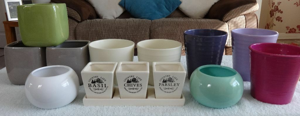 Assorted Colourful Plant Pots X 10 Plus Tray With 3 Herb