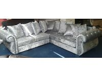 Brand new corner sofa in silver crushed velvet fabric