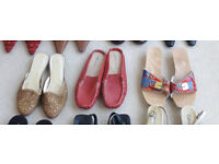 Assorted womens leather shoes, boots and sandals