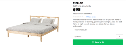 Nearly New IKEA Double Bed-frame + Mattress