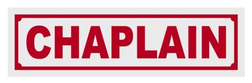 Chaplain Red Helmet Window Reflective Title Decal Sticker