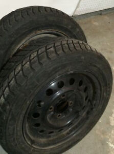 TWO - 195/60R15 Winter Tires on 4X114.3 Wheels