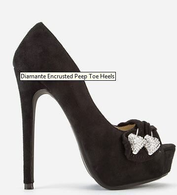Diamante Encrusted Peep Toe Heels Size 6