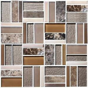 "12"" x 12"" Electroplated Glass Mosaic Tile - 8mm Thickness - 10 styles"