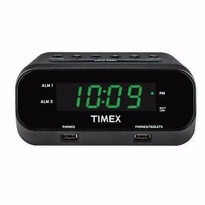 Timex T129BC Redi-Set Dual Alarm Clock with USB Ports - Black(Open Box)