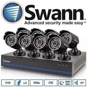 NEW OB SWANN 8CH SECURITY SYSTEM - 124926077 - HD 1080p TVI DVR W/ 8 1080p Cameras, 2TB HDD, and 100' Night Vision