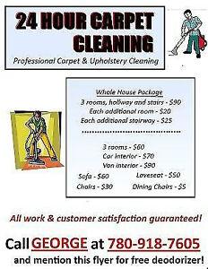 24HR Carpet Cleaning - 3rooms+1Hallway+stairs+deodorizer - $90 Edmonton Edmonton Area image 1