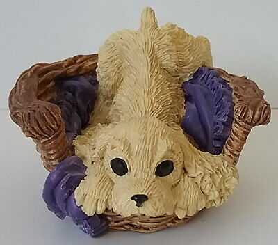 Cocker Spaniel Puppy Dog in a Basket Resin Figurine Kathy Wise for Enesco 1993
