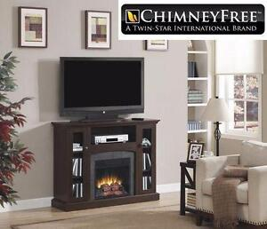 NEW* CHIMNEY FREE MEDIA FIREPLACE ELECTRIC L 47.50 inches x W 13.00 inches x H 35.75 inches - FIRE HEATER HOME  84053643