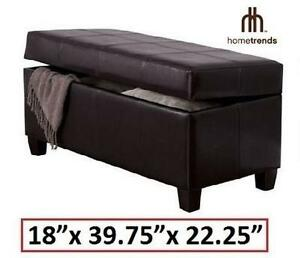 """NEW* HOMETRENDS STORAGE BENCH OTTOMAN - BROWN - 18"""" W x 39.75"""" D x 22.25"""" H - FURNITURE HOME LIVING ROOM 103320959"""