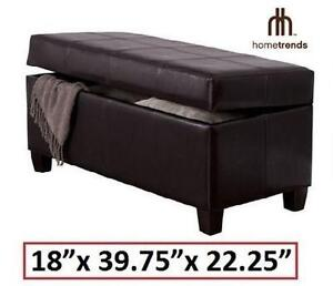"""NEW HOMETRENDS STORAGE BENCH OTTOMAN - BROWN - 18"""" W x 39.75"""" D x 22.25"""" H - FURNITURE HOME LIVING ROOM 106078152"""