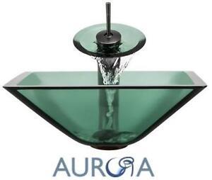 NEW AURORA GLASS SINK W/ FAUCET Glass Vessel Sink Waterfall Faucet BATHROOM FIXTURES HOME IMPROVEMENT 104559803