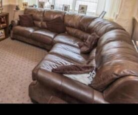 Brown Leather corner sofa with foot stool