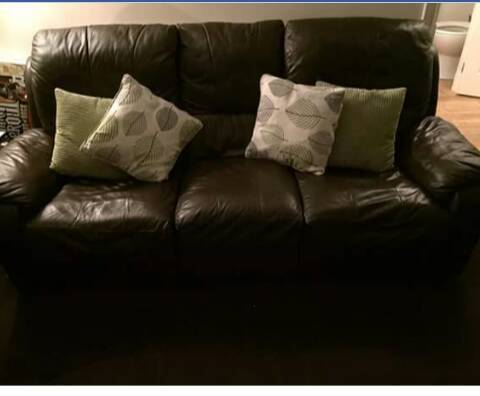 3 seater chocolate brown leather