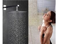 "Luxury 10"" Rain Square Stainless Steel Shower Head with Acrylic Sparkling Clear Glass/ Spa Like NEW"