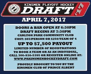 PA Kinsmen Hockey Draft- Up to $7500 in Payouts!