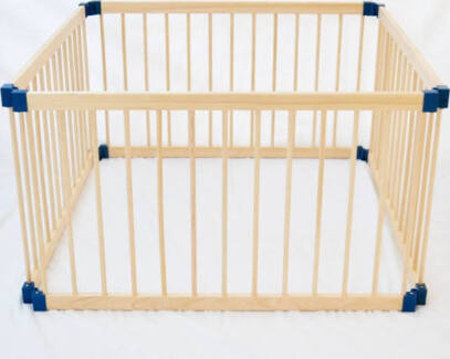 Wooden Square Playpen with blue foam mat