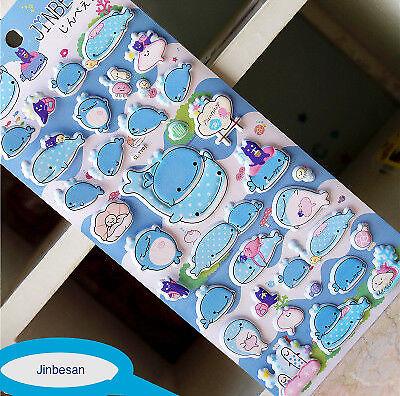 Aufkleber Sticker 3D Kinder Wal Jinbesan Jungen Mädchen