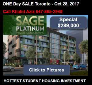 Waterloo Investment Condos ONE Day SALE Toronto - Oct 28, 2017 ""