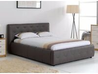King Size Leather-effect Bed Frame with Sprung Slats - Mink / Light Grey-brown colour