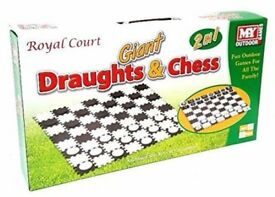 Giant Waterproof Garden Chess And Draughts Set - Garden Game / Nursery Game