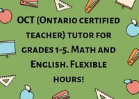 OCT certified tutor for grades 1-5 English and Math