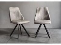 Set of four grey dinning chairs, faux leather, black metal legs - for collection only