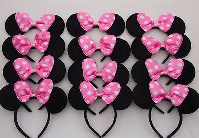 12pc Minnie Mouse Ears Headbands Black Pink Polka Dot Bow Mickey Party -