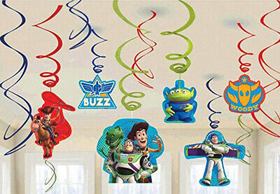 Disney Toy Story HAPPY BIRTHDAY hanging swirl decoration Buzz Woody 12pc 4 party - Woody Decorations