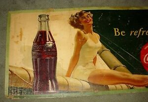 Antique large Coca Cola cardboard advertising sign London Ontario image 2