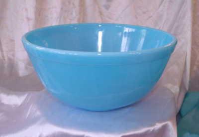 Beautiful Robin Egg Blue Milk Glass Large 65 oz Mixing Batter Bowl Mosser LOOK!