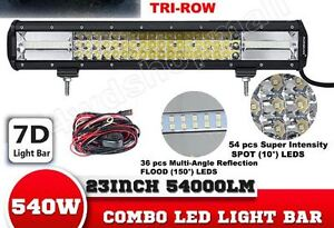 7D Tri-Row 23Inch 540W PHILIPS Combo Beam LED Light Bar Offroad