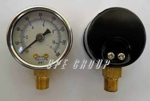 "NEW Pressure Gauge WOG air compressor hydraulic 1.5""face 0-160 lower mnt 1/8""npt"