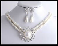 BRIDAL JEWELRY RHINESTONE CRYSTAL GLASS PEARLS CHARM SET