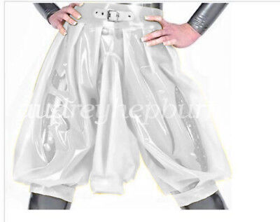 New 100/% Latex Rubber Short With Urine Gag White Knee-length Pant Size XXS-XXL