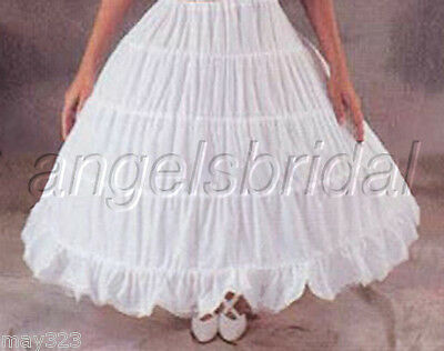 COTTON 4 HOOP BRIDAL WEDDING GOWN DRESS MEDIEVAL PETTICOAT CRINOLINE SKIRT - Crinoline Slip