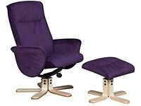 RECLINER CHAIR, BRAND NEW, THE CHAIR SWIVELS AND RELINES WITH A MATCHING FOOTSTOOL