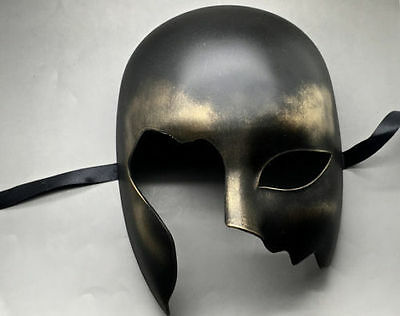 Halloween Black Gold Half Face Costume Masquerade Men Mask - Black Face Halloween Mask