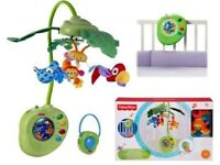 RAINFOREST PEEK-A-BOO LEAVES MUSICAL MOBILE FISHER PRICE