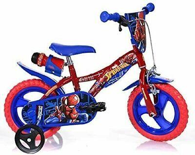 "Dino Spiderman Kids Boys Bike with Stabilisers 12"" Wheel Single Speed"